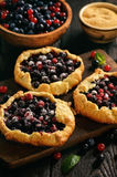 Rustic galettes with blueberries and red currants. Rustic galettes with blueberries and red currants Stock Photos