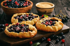 Rustic galettes with blueberries and red currants. Rustic galettes with blueberries and red currants Stock Photography