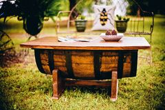 Rustic garden table Royalty Free Stock Image