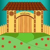 Rustic gate with welcome message. Carved rustic gate with welcome message vector illustration