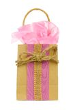 Rustic gift bag with pink tissue wrap and twine bow Royalty Free Stock Photo