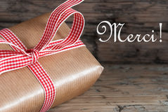 Rustic Gift with Merci royalty free stock photography