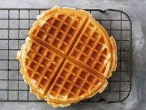 Rustic golden plain waffle Royalty Free Stock Photography