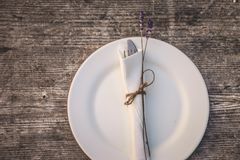 Rustic Charm Place Setting stock photo