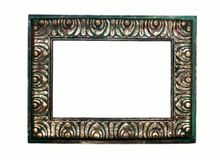 Rustic Green and Gold Frame. A green background with gold leaf carving on this rustic style wooden frame. A little grunge look to it royalty free stock image