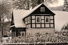 Rustic gretel. Rustic timbered in the winter Royalty Free Stock Photos