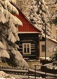 Rustic gretel. Rustic timbered in the winter Stock Image
