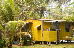 Rustic guest cabana Little Corn Island Nicaragua Central Americ royalty free stock image