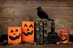 Rustic Halloween scene against old wood Royalty Free Stock Photo