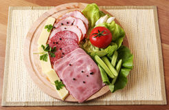 Rustic ham plate Royalty Free Stock Images