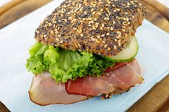 Rustic ham sandwich Stock Images