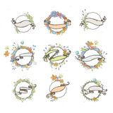 Rustic hand drawn flower elements and ribbons set. Vector floral doodles, branches, flowers, laurels and frames. Border collection for greeting cards and Stock Photography