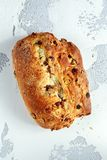 Rustic hand made organic bloomer bread with cranberry, raisin and cashew.  Stock Image