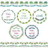 Rustic hand sketched wedding elements set. Floral doodles, leaves, branches, flowers, birds, laurels, banners and frames Royalty Free Stock Image