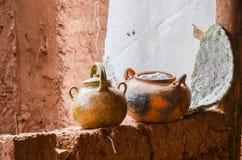 Rustic handmade ceramic clay brown pot Stock Photography