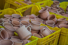 Rustic handmade ceramic clay brown terracotta cups souvenirs at Stock Photo
