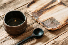 Rustic handmade eco friendly pottery crockery set Royalty Free Stock Images
