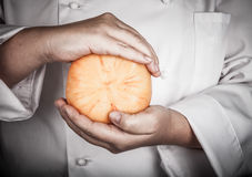 Rustic handmade gourmet cheese in the hands of the cook. Toned Royalty Free Stock Image