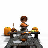 Rustic Harvest Feast. Pilgrim girl presenting a roast turkey Stock Photography