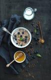 Rustic healthy breakfast set. Cooked buckwheat Stock Photo