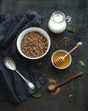 Rustic healthy breakfast set. Cooked buckwheat Stock Photography