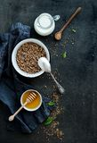 Rustic healthy breakfast set. Cooked buckwheat Royalty Free Stock Photos