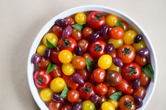 Rustic Heirloom Cherry Tomato Salad with Basil and Olives Royalty Free Stock Image