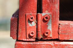 Rustic hinge on wooden box Background . close up Royalty Free Stock Image