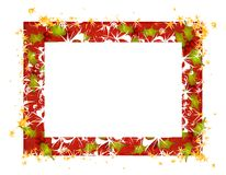Rustic Holly Leaves Christmas Frame Stock Images