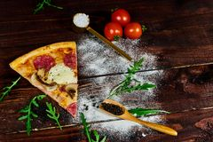 Rustic home made mushroom pizza. royalty free stock photos