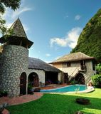 Rustic home with pool between the Pitons Royalty Free Stock Photos