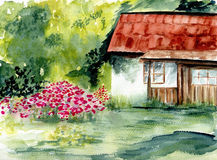 Rustic home. Watercolor. House in flowers / Nature stock illustration