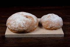 Rustic homemade bread of wholemeal spelled flour royalty free stock photos