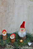 Rustic homemade christmas decoration with gnomes Royalty Free Stock Photo