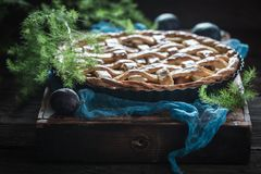 Rustic and homemade plum pie made of fresh ingredients Royalty Free Stock Photography