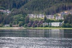 Rustic Homes on Alaska Coast Royalty Free Stock Photos