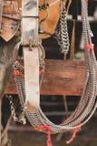Rustic horse saddle stock image