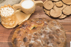 Rustic hot pie with stuffing. Rustic hot pie with meat and potato stuffing on the table Royalty Free Stock Image