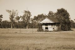 A rustic house. An abandoned home out in a field, colorized royalty free stock photos