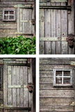 Rustic house background set. Decrepit wood house wall background set vertical frames Royalty Free Stock Photo
