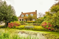 Rustic house with beautiful garden with borders with many flowering plants