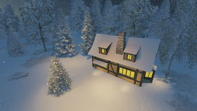 Rustic house and christmas tree at night stock video footage
