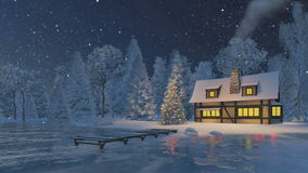 Rustic house and christmas tree at snowfall night stock footage