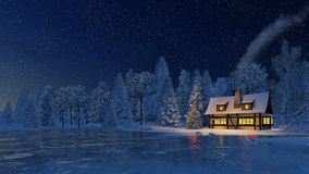 Rustic house and christmas tree at snowfall night Royalty Free Stock Photo