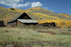Rustic house in Colorado Mountains stock images
