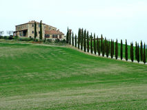 Rustic house on the hill. Tuscany landscape, a house on a hill Stock Images