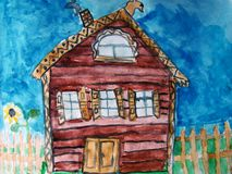 Rustic house painted by child. Watercolor painting of an old country house made by child stock illustration