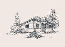 Rustic house sketch Royalty Free Stock Photo