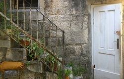 Rustic house with stairway in Croatia Royalty Free Stock Images