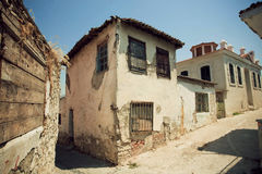 Rustic house in village with narrow streets Stock Photos